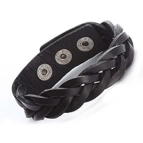 Braided Black Leather Bracelet (Ailianer Leather Bracelet Black Tone Braided Wide Wristband Women Men Punk Jewelry With Gift Box)