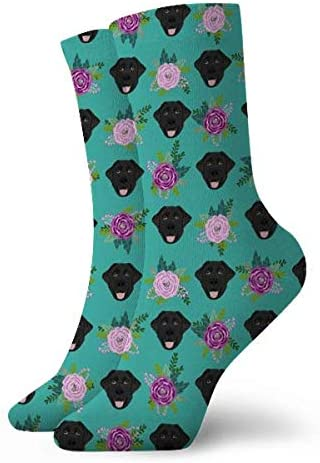 Labrador Retriever Black Coat Floral Bouquet Black Lab Teal Women Crew Socks Casual Cotton Ankle Dress Socks Size 7-12