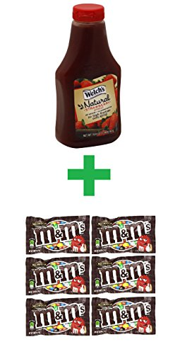 Welch's Natural Strawberry Spread 19.8 OZ (Pack of 7) + (M&M milk chocolate 6ct /1.69oz) (Welch Natural Grape Jelly compare prices)