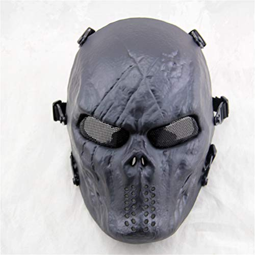 Xinjiahe Punk Mask Full Face Tactical Airsoft Mask Overhead Skull Mask Outdoor Hunting CS War Game Mask for Halloween,F -