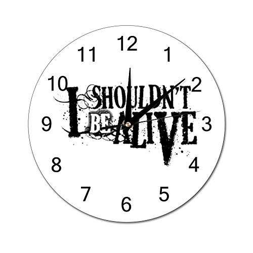 Chenxiaobo I Shouldn't Be Alive Silent PVC Round Wall Clock Arabic Numerals Home Decor Wall Clock