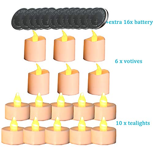 Tea Lights Candles,Flameless Votive Candles Flickering,Battery Operated Fake Candles,Built-in Battery 16Pcs Candles & Free Gift 16pcs Battery (Top Walmart Table Glass)