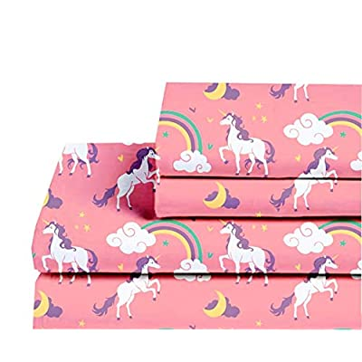 Castle and Clover Lunar Unicorn Sheets for Girls in Pink Twin or Full Kids Sheet Set with Flat Sheet, Fitted Sheet, Pillowcase(s) (Full): Home & Kitchen