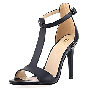 ZriEy Women's Sexy T-Strap High Heel Sandals Bridal Party Shoes