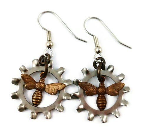 Surgical Steel Dangle Earrings Steampunk Gears Industrial Gothic Brass Bees
