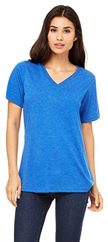 Bella Canvas Women's Relaxed Jersey V-Neck T-Shirt_True Royal Triblend_XX-Large