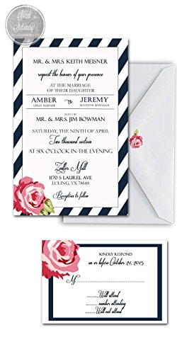 Wedding invitations set /Blue and White stripes with pink rose/Custom invitations/Sold in sets of 10