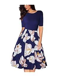 MISSJOY Women Vintage Patchwork Half Sleeve Pockets Slim Fit and Flare Swing Dress