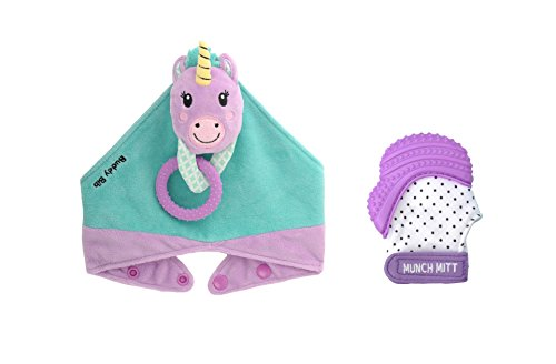 Munch Mitt the Original Mom Invented Teething Toy and 3 in 1 Buddy Bib- Self-Soothing Entertainment & Pain Relief for Baby- Ideal Baby Shower Gift- Mitt & Bib Combo Pack (Unice Unicorn/Purple Shimmer) from Munch Mitt
