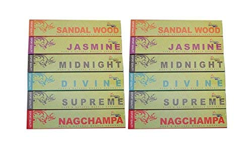 Set of 12 Narayana Masala Nag Champa, Sandalwood, Jasmine, Supreme, Divine, Midnight Incense Sticks - 2 Packs each of 6 different fragrances