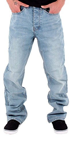 Rocawear Mens Boys Double R Star Loose Fit Hip Hop Jeans is Money G Time SWB (W42 - L34) Stone Wash Blue ()