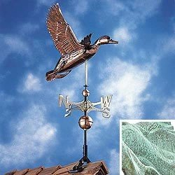Whitehall Products, Duck Copper Weathervane 45036, 25 inches wide by 37 inches high, verdigris - Whitehall Products Duck