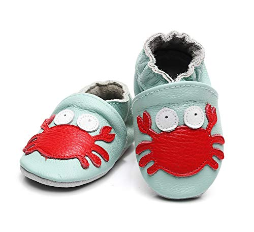 Bebila Baby Boys Girls Shoes Leather Baby Moccasins Soft Soled Infant Crawling Slippers for 0-24 Months  (US 4/4.53
