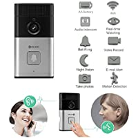 iHome Fusion Wireless Video Doorbell Camera WiFi Video Doorbell Camera With Night Vision Wide Angle Video Doorbell Phone Intercom Perfect For Android & IOS Smartphone (Black/Silver)