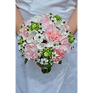 Silk Blooms Ltd Artificial Pale Pink Peony and Anemone Bridal Bouquet w/Ornithogalum Flowers 19