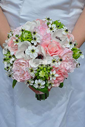 Silk-Blooms-Ltd-Artificial-Pale-Pink-Peony-and-Anemone-Bridal-Bouquet-wOrnithogalum-Flowers