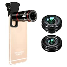 M.Way Phone Lens Universal 4 in1 Clip-on Cell Phone Camera Len Kit 10x Zoom Telephoto Fish Eye + Wide Angle + Micro Clip Lens For iPhone,Samsung,HTC and Other Smart Phone