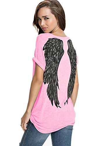 FV RELAY Womens Summer Fashion Angel Wing Loose Tops Short Sleeve T-Shirt Tee (L, Pink(Angel))