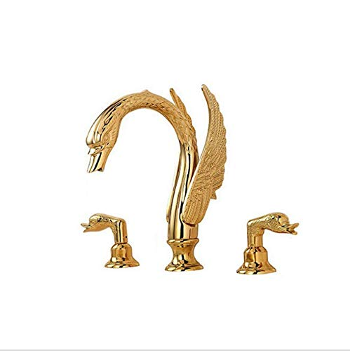 (Copper-plated gold bathroom basin and basin faucet Swan triple cold and hot water mixing faucet )