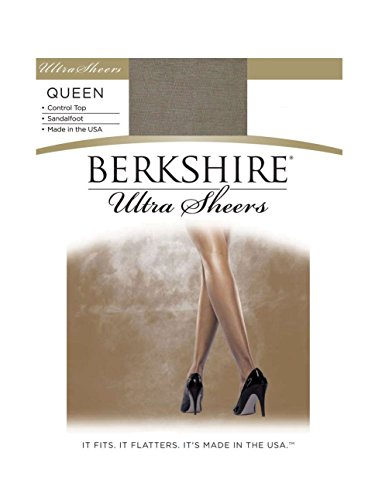 Berkshire Women's Plus Size Queen Ultra Sheer Control Top Pantyhose - Sandalfoot 4411, Nu Grey, Queen Petite