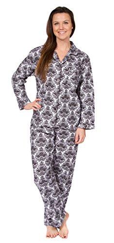 Leisureland Women's Cotton Flannel Pajama Set Damask Print White Large - Paisley Silk Boxers