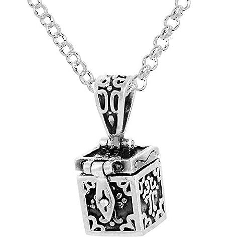 Sterling Silver Prayer Box Necklace Cross Motif, 3/8 inch 30 inch Chain Rol_1 - Cross Prayer Box Charm