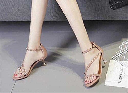 YEEY Sandalias remaches de verano sandalias abiertas para mujeres tobillo hebilla hueco zapatos de tacón alto Pink