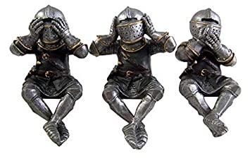 Hear no Evil See No Evil Speak No Evil Knight Shelf Sitters Figurines