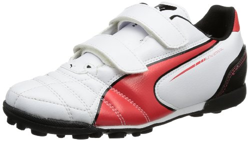 Puma Universal TT V Jr 102816 - Zapatillas de fútbol para niños Blanco (Weiß (white-high risk red-black 04))