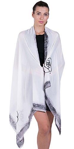 Shawl New Scarf Silk (100% Silk Scarf for Women Ladies Printed Shawl Wrap Headscarf Long Large Lightweight Satin Ivory Scarves)