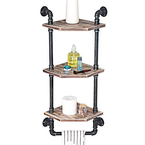 MBQQ Industrial Pipe Shelf,Rustic Corner Shelves with Towel Bar,Bathroom Shelves Wall Mounted,3 Tiered Metal&Real Wood Home Decor Floating Shelves (Corner Tiered Shelves)