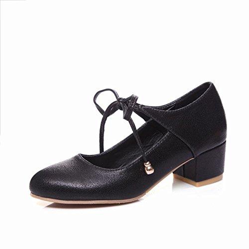 MissSaSa Damen Ankle-strap geschlossen Blockabsatz Pumps Schwarz