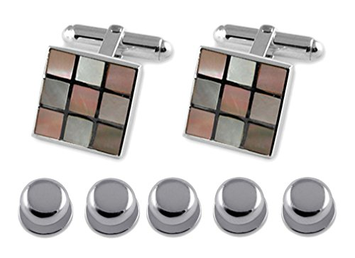 Shirt chequered Gift Set Sterling Studs pink Cufflinks Dress shell silver qRB4ZX