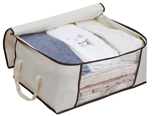 MISSLO Thick Oxford Clothing Organizer Storage Bags for Clothes, Blanket, Comforter, Closet, 3 Piece Set (Beige) by MISSLO (Image #3)