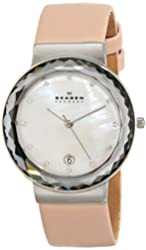 """Skagen Women's SKW2165 """"Leonora"""" Stainless Steel Watch with Pink Leather Band"""