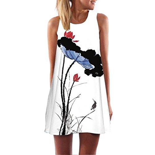 Vestiti Loto Abito Top Spalline Allentato Estate Casual Zarupeng Vestito Donna Foglia Stampa Senza Chiffon Popolare Bianco E1nqEXwO