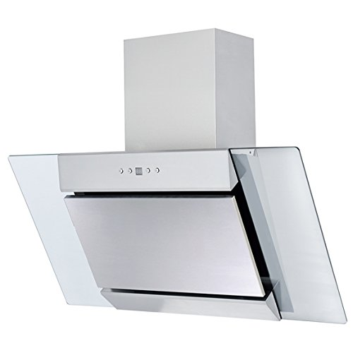 SIA AGL91SS 90cm Angled Glass Stainless Steel Chimney Cooker Hood Extractor