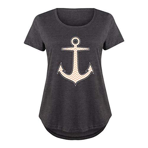 Chevron Anchor - Ladies Plus Size Scoop Neck Tee Heather ()
