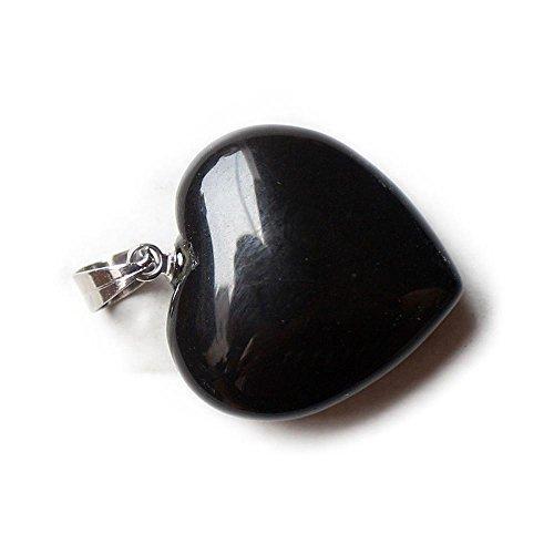 tone Chakra Healing Heart Beads Charm Pendant Main Stone: Black Obsidian (Black Obsidian Pendant)