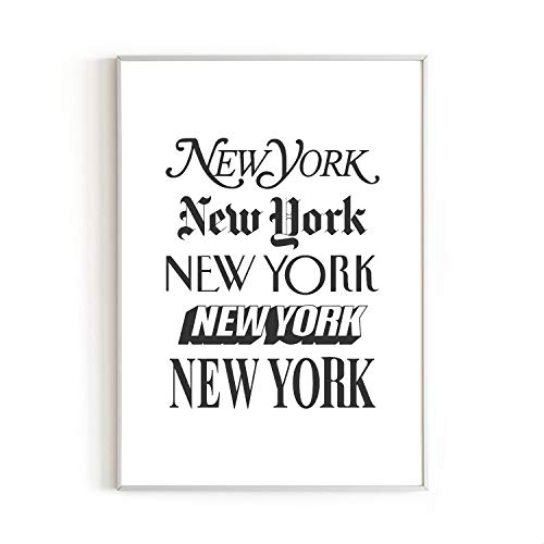 RipGrip New York Text Wall Art Print by Urban Willow - NYC Themed Home Office, Apartment, Dorm Wall Decor - Black & White Art - Typography - Unframed/Frameable Poster Wall Decoration - 12 in x 16 in