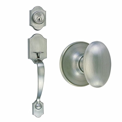 Design House 753954 Sussex 2-Way Latch Entry Door Handle Set with Egg Knob Handle and Keyway, Adjustable Backset, Satin Nickel (Design House Egg Knob Satin)