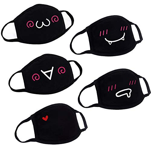 Hanjoy Unisex Anime Cotton Mask,Cute Couple Pattern Blend Anti Dust Kpop Fashion Face Mouth Mask Black (5 Pack)