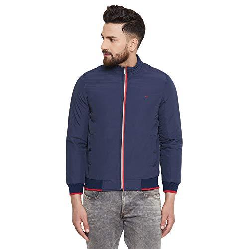 Okane Men Nylon Solid Navy/Blue Full Sleeve Jacket