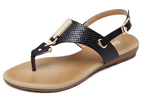 Minetom Mujer Verano Elegante Planos Solos Boca Superficial Hebilla Sandalias Tanga Zapatos Clip Toe Sandals Pisos Playa Negro