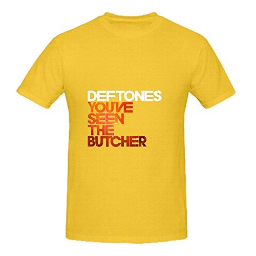 deftones-youve-seen-the-butcher-funk-album-cover-mens-crew-neck-short-sleeve-tee-shirts-yellow