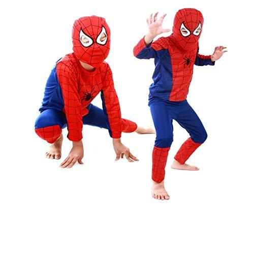Kids Spiderman Costume Child Superhero Cosplay Elastic Jumpsuit Amazing Spandex Zentai Suit Halloween Boys Costumes (M) -