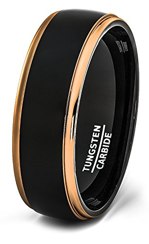 Mens Wedding Band Two Tone Black Polished Tungsten Ring 8mm Rose Gold Step Edge Comfort Fit (10.5) - Comfort Fit Two Tone Ring