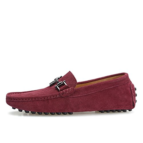 TDA Mens New Designer Buckle Suede Loafers Drving Boat Shoes Wine Red uo8zXuhcps