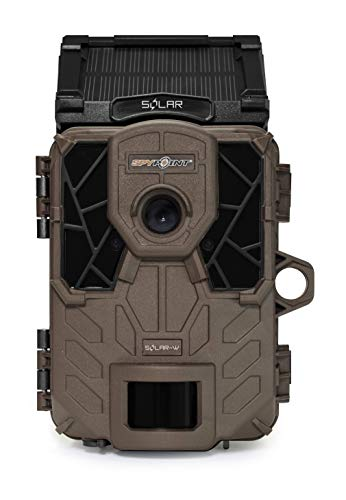 SPYPOINT Solar-W Trail Camera 12MP HD Video Patented Solar Panel&Rechargeable Built-in Battery, High Power LEDs, Super Low Glow, IR Boost Tech, 2
