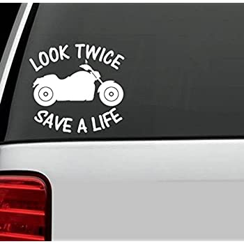 amazoncom look twice save a life motorcycle vinyl decal With kitchen colors with white cabinets with watch for motorcycles sticker